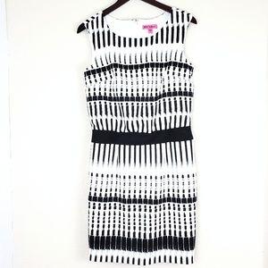 Betsy Johnson Midi Dress Black White SZ 6 Stretch